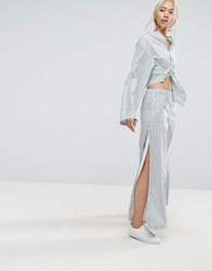 House Of Sunny Pyjama Style Wide Leg Trousers With Side Poppers In Stripe Co Ord Multi