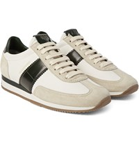 Tom Ford Leather And Suede Panelled Canvas Sneakers Green