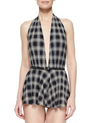 Michael Kors Sedona Plaid Skirted One Piece Swimsuit