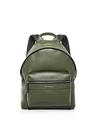 Salvatore Ferragamo Firenze Leather Backpack Olive