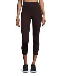 Aurum Paneled High Rise Cropped Leggings Raisin