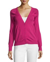 See By Chloe V Neck Long Sleeve Cardigan Fuxia