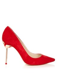 Sophia Webster Coco Flamingo Heel Suede Pumps Red