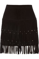 Rebecca Minkoff Flight Embellished Fringed Suede Mini Skirt Black
