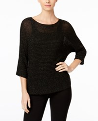 Eileen Fisher Metallic Dolman Sleeve Sweater Black