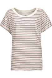 Current Elliott The Crew Neck Striped Cotton T Shirt Off White