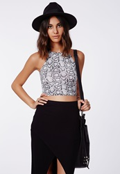 Missguided Taupe Snake Print Crop Top
