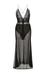 Jonathan Simkhai Threaded Tulle Lace Nightgown Black