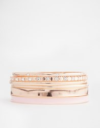 Lipsy Enamel And Stone Bangle Pack Pinkrosegold