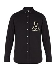 Ami Alexandre Mattiussi A Applique Brushed Cotton Shirt Black