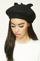 Forever 21 Cat Ears Beret Black