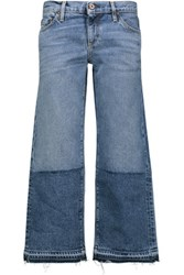 Simon Miller Thomas Mid Rise Cropped Frayed Bootcut Jeans Mid Denim