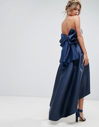 Chi Chi London Bandeau Midi Dress With Exaggerated Bow Back Navy