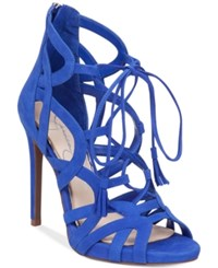 Jessica Simpson Racine Lace Up High Heel Gladiator Sandals Women's Shoes New Colbalt Blue