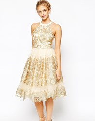 Chi Chi London Premium Metallic Lace Midi Prom Dress With High Neck Nudegold