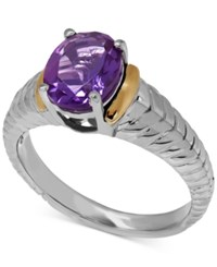 Macy's Amethyst 1 5 8 Ct. T.W. Oval Ring In 14K Gold And Sterling Silver