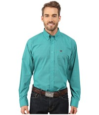 Cinch Long Sleeve Plain Weave Print Shirt Turquoise Men's Long Sleeve Button Up Blue