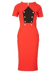 Feverfish Military Bodycon Dress Red