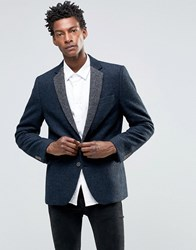Devils Advocate Boucle Blazer With Contrast Lapel Jacket Navy