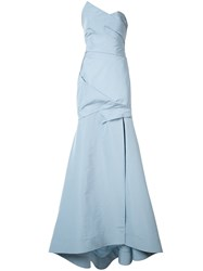 Monique Lhuillier Wrap Detail Gown Women Silk 8 Blue