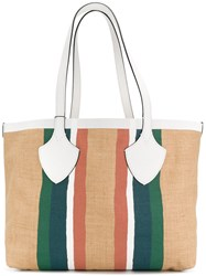 Burberry Striped Oversized Tote Nude And Neutrals