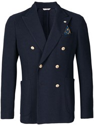 Manuel Ritz Tailored Double Breasted Blazer Blue