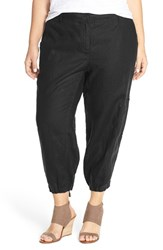 Plus Size Women's Eileen Fisher Organic Linen Cargo Ankle Pants Black