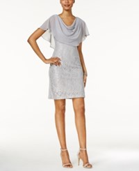 Jessica Howard Draped Capelet Lace Dress Silver