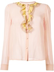 Red Valentino Ruffled Neck Sheer Blouse Yellow Orange