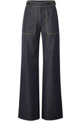 Carolina Herrera Woman Button Embellished High Rise Wide Leg Jeans Dark Denim