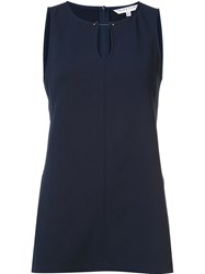 Trina Turk Round Neck Sleeveless Blouse Blue