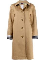 Tommy Hilfiger Check Cuff Single Breasted Coat Neutrals