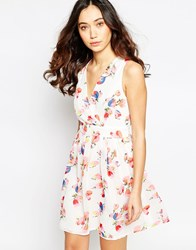 Iska Wrap Front Dress In Tulip Print Pink White