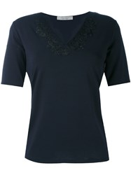 D.Exterior Lace Applique V Neck T Shirt Women Viscose Lacquer M Blue