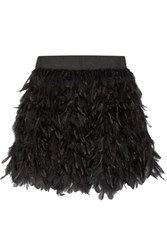 Alice Olivia Cina Feather Embellished Tulle Mini Skirt Black