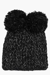 Boohoo Nancy Double Pom Beanie Hat Black