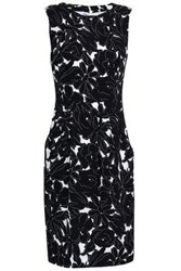 Oscar De La Renta Woman Floral Print Silk Blend Crepe Mini Dress Black