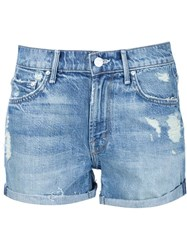 Mother Distressed Shorts Blue
