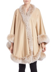 Sofia Cashmere Cashmere And Fox Fur Cape Beige