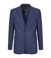 Gieves And Hawkes Linen Flap Pocket Jacket Male Blue
