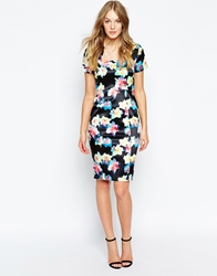 Wolf And Whistle Pencil Dress In Daffodil Print Multi