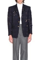 Thom Browne Tartan Check Embroidery Distressed Jacket In Blue