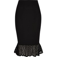 River Island Womens Black Ribbed Jersey Frill Pencil Skirt
