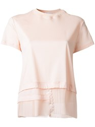 Carven Pleated Layered Blouse Pink Purple