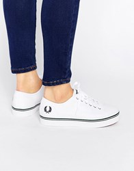 Fred Perry Phoenix Canvas Flatform Trainers White French Navy