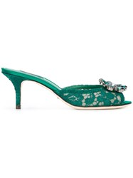Dolce And Gabbana Lace Embellished Sandals Women Silk Cotton Leather Viscose 40 Green