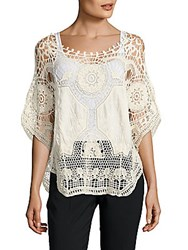 Saks Fifth Avenue Black Cotton Crochet Poncho Ivory