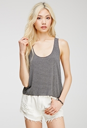 Forever 21 Striped Racerback Tank Grey Cream