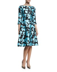 Oscar De La Renta 3 4 Sleeve Floral Print Dress Bright Blue Multi Colored