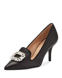 Charles David Amari Leather Loafer Pump With Buckle Detail Black
